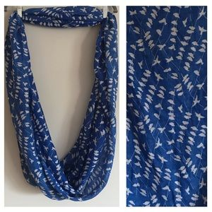 Blue infinity scarf with white birds